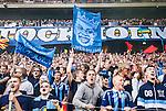 Solna 2015-08-10 Fotboll Allsvenskan AIK - Djurg&aring;rdens IF :  <br /> Djurg&aring;rdens supportrar med en flagga med texten &quot; Super Mush &quot; inf&ouml;r matchen mellan AIK och Djurg&aring;rdens IF <br /> (Foto: Kenta J&ouml;nsson) Nyckelord:  AIK Gnaget Friends Arena Allsvenskan Djurg&aring;rden DIF supporter fans publik supporters