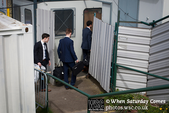 The referee and his assistants arriving at Mount Pleasant before Marske United take on Billingham Synthonia in a Northern League division one fixture. Formed in 1956 in Marske-by-the-Sea, the home club had secured automatic promotion to the Northern Premier League two days before and were in the midst of a run of six home games in 10 days as they attempted to overtake Morpeth Town to win the league. They won this match 6-1 against already relegated Billingham, watched by a crowd of 196.