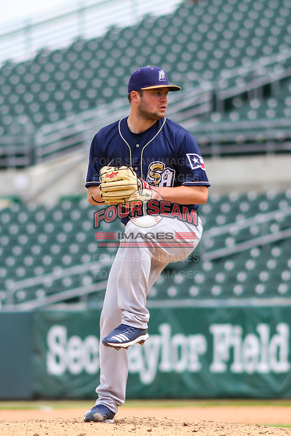 San Antonio Missions pitcher Jon Olczak (20) delivers a pitch during a Pacific Coast League game against the Iowa Cubs on May 2, 2019 at Principal Park in Des Moines, Iowa. Iowa defeated San Antonio 8-6. (Brad Krause/Four Seam Images)