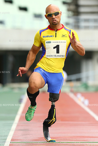 Atsushi Yamamoto,<br /> JULY 18, 2015 - Athletics :<br /> Japan Para Athletics Championships,<br /> Men's T42 Long Jump Final<br /> at Yanmar Stadium Nagai, Osaka, Japan. <br /> (Photo by Shingo Ito/AFLO SPORT)