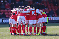 Fleetwood Town players in a huddle ahead of the Sky Bet League 1 match between Fleetwood Town and MK Dons at Highbury Stadium, Fleetwood, England on 24 February 2018. Photo by David Horn / PRiME Media Images