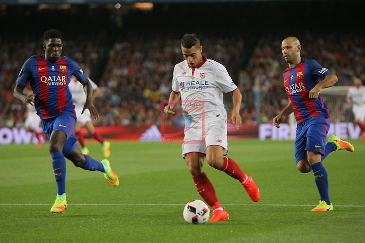 League Santander 2016/2017.<br /> Supercopa de Espa&ntilde;a - Vuelta.<br /> FC Barcelona vs Sevilla FC: 3-0.<br /> Umtiti, Ben Yedder &amp; Mascherano.