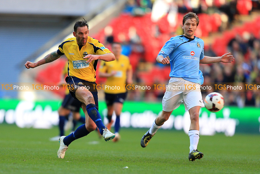 Jamie Brown of Gosport Borough with a shot early on - Cambridge United vs Gosport Borough - FA Challenge Trophy Final at Wembley Stadium, London - 23/03/14 - MANDATORY CREDIT: Simon Roe/TGSPHOTO - Self billing applies where appropriate - 0845 094 6026 - contact@tgsphoto.co.uk - NO UNPAID USE