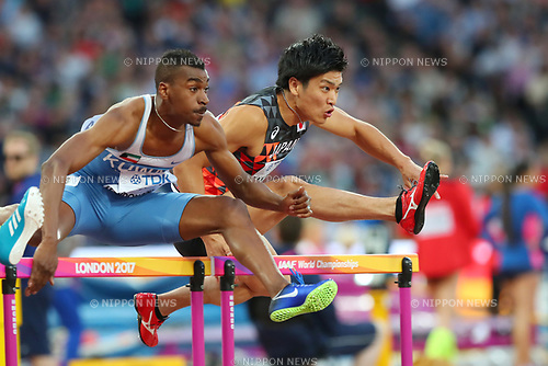 Genta Masuno (JPN), <br /> AUGUST 6, 2017 - Athletics : <br /> IAAF World Championships London 2017 <br /> Men's 110m Hurdles Semi-final <br /> at The London Stadium in London, UK. <br /> (Photo by YUTAKA/AFLO SPORT)
