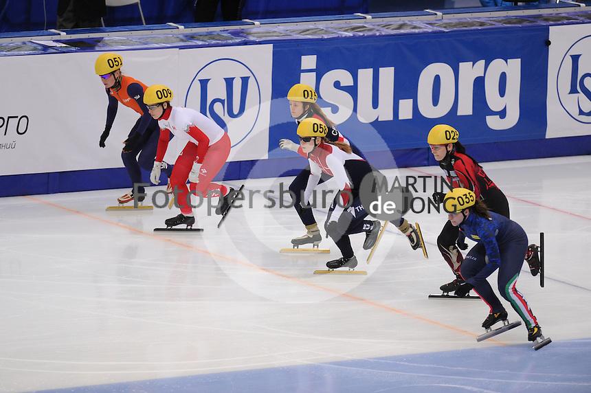 "SHORT TRACK: MOSCOW: Speed Skating Centre ""Krylatskoe"", 13-03-2015, ISU World Short Track Speed Skating Championships 2015, start 500m, Yara VAN KERKHOF (#051 | NED), Marianne ST-GELAIS (#009 | CAN), Katarina BURIC (#015 | CRO), Evgeniya ZAKHAROVA (#058 | RUS), Bianca Walter (#025 | GER), Elena VIVIANI (#031 | ITA), ©photo Martin de Jong"