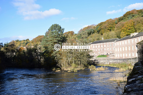 New Lanark World Heritage Site, Scotland. Former 18th century cotton spinning mill village located on the banks of the Falls of Clyde