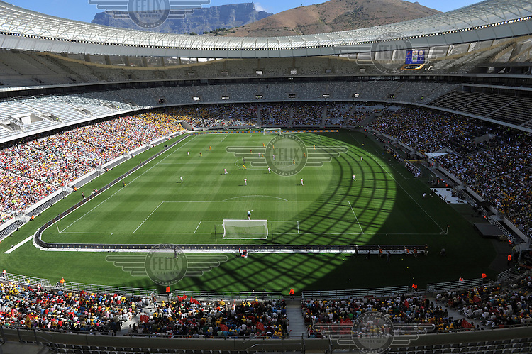 A match between Santos and Ajax Cape Town marked the official opening of Cape Town's new 2010 FIFA World Cup football stadium. 20,000 fans flocked to the stadium for its first public event since completion in December 2009. The stadium seats 68,000 and the first test event was used to check that all systems, transport, security, staffing and logistics worked satisfactorily.