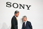 Kazuo Hirai, President and Chief Executive Officer of Sony Corp. (L) attends a news conference at the company's headquarters on May 23, 2017, Tokyo, Japan. Hirai announced Sony's midterm financial targets for the current fiscal year ending March 31, 2018. (Photo by Rodrigo Reyes Marin/AFLO)