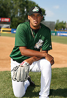 Omar Poveda of the Clinton Lumberkings during the Midwest League All-Star game.  Photo by:  Mike Janes/Four Seam Images