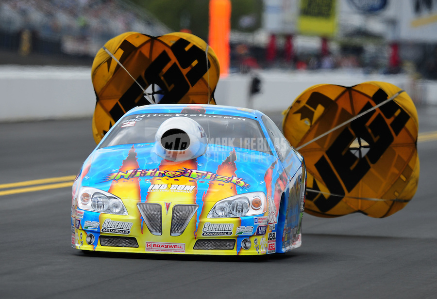 Sept. 18, 2011; Concord, NC, USA: NHRA pro stock driver Greg Stanfield during the O'Reilly Auto Parts Nationals at zMax Dragway. Mandatory Credit: Mark J. Rebilas-