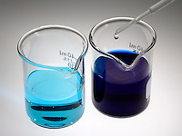 COMPLEX ION FORMATION: NH3 (LIGAND) ADDED TO CuSO4<br /> (Variations Available)<br /> Copper Sulfate And Aqueous Ammonia<br /> Aqueous CuSO4  consists of hydrated Cu2+ ions ( the pale plue [Cu(H2O)6]2+ ion, (left).  Adding aqueous ammonia to it forms the intense blue-violet [Cu(NH3)4]2+ ion (right).