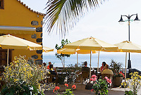 Spain, Canary Islands, La Palma, Puerto de Tazacorte: resort with black sandy beach, restaurant, cafe