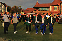Team USA winners of the Walker Cup at the Award ceremony of the Walker Cup at Royal Liverpool Golf CLub, Hoylake, Cheshire, England. 08/09/2019.<br /> Picture Thos Caffrey / Golffile.ie<br /> <br /> All photo usage must carry mandatory copyright credit (© Golffile | Thos Caffrey)