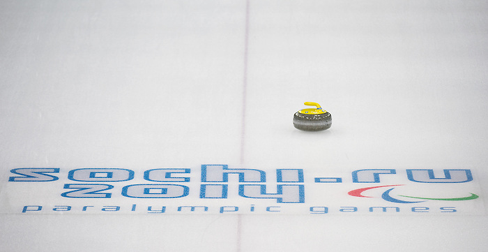 Sochi, RUSSIA - Mar 10 2014 -  Canada vs USA in Wheelchair Curling round robin play at the 2014 Paralympic Winter Games in Sochi, Russia.  (Photo: Matthew Murnaghan/Canadian Paralympic Committee)