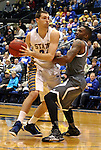 BROOKINGS, SD - JANUARY 18:  Zach Horstman #24 from South Dakota State University tries to drive against Justin Simmons #21 from Omaha in the first half of their Summit League game Saturday afternoon at Frost Arena in Brookings. (Photo by Dave Eggen/Inertia)