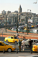 Looking across the Galata Bridge towards Beyoglu from Eminonu, Istanbul, Turkey