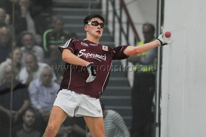 02/09/2017; GAA Handball All-Ireland 60x40 Boys Minor Singles Final, James Prentice (Tipperary) vs Diarmuid Mulkerrins (Galway); Croke Park Handball Center, Dublin;<br /> Diarmuid Mulkerrins<br /> Photo Credit: actionshots.ie/Tommy Grealy