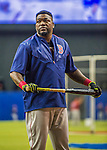 1 April 2016: Boston Red Sox designated hitter David Ortiz awaits his turn in the batting cage prior to a pre-season exhibition game against the Toronto Blue Jays at Olympic Stadium in Montreal, Quebec, Canada. The Red Sox defeated the Blue Jays 4-2 in the first of two MLB weekend exhibition games, which saw an attendance of 52,682 at the former home on the Montreal Expos. Mandatory Credit: Ed Wolfstein Photo *** RAW (NEF) Image File Available ***