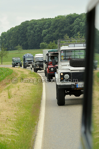 Germany, Land Rover Classic Club 2005. Line up of Land Rover Defenders. --- No releases available. Automotive trademarks are the property of the trademark holder, authorization may be needed for some uses.