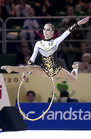 October 20, 2001; Madrid, Spain:  INNA ZHUKOVA for Belarus leaps with hoop at 2001 World Championships at Madrid.