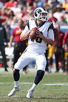 Los Angeles Rams quarterback Jared Goff #16 during an NFL football game between the Washington Redskins and the Los Angeles Rams, Sunday, Sept. 17, 2017 in Los Angeles (Photo by Michael Zito/Panini)