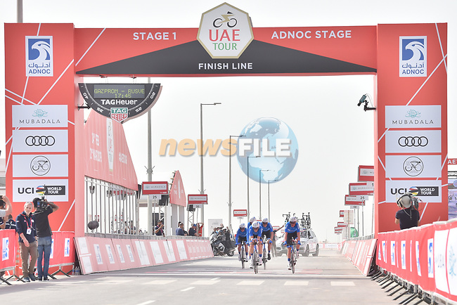 Gazprom-Rusvelo approach the finish line of Stage 1 of the 2019 UAE Tour, a team time trial running 16km around Al Hudayriat Island, Abu Dhabi, United Arab Emirates. 24th February 2019.<br /> Picture: LaPresse/Massimo Paolone | Cyclefile<br /> <br /> <br /> All photos usage must carry mandatory copyright credit (© Cyclefile | LaPresse/Massimo Paolone)
