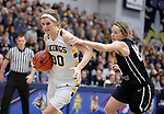 SIOUX FALLS, SD: MARCH 12:  Logan O'Farrell #30 of Augustana drives on Paige Redmond #00 during the 2018 NCAA Division II Women's Basketball Central Region Championship Monday at the Elmen Center in Sioux Falls, S.D. (Photo by DIck Carlson/Inertia)