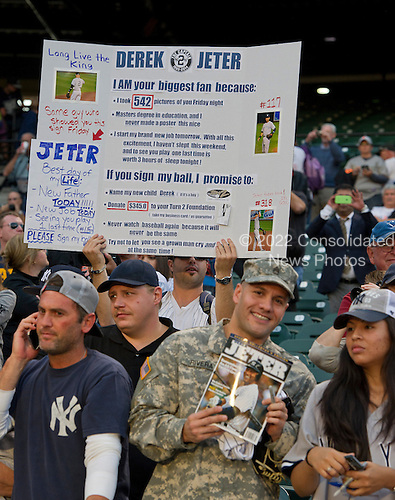 Posters in the stands prior to the game against the Baltimore Orioles at Oriole Park at Camden Yards in Baltimore, MD on Sunday, September 14, 2014.  <br /> Credit: Ron Sachs / CNP<br /> (RESTRICTION: NO New York or New Jersey Newspapers or newspapers within a 75 mile radius of New York City)