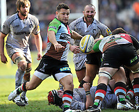 Twickenham, England. Danny Care of Harlequins clears the ball during the Aviva Premiership game between Harlequins and Leicester Tigers at Twickenham Stoop, London, England. 21 April 2012.