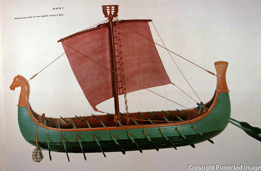 "World Civilization:  Ancient Ships--Phoenician ship, 8th C.  B.C.  Used on long voyages, as far afield as Cornwall, and even to the Baltic.  ""This would explain resemblance to Viking ships."""