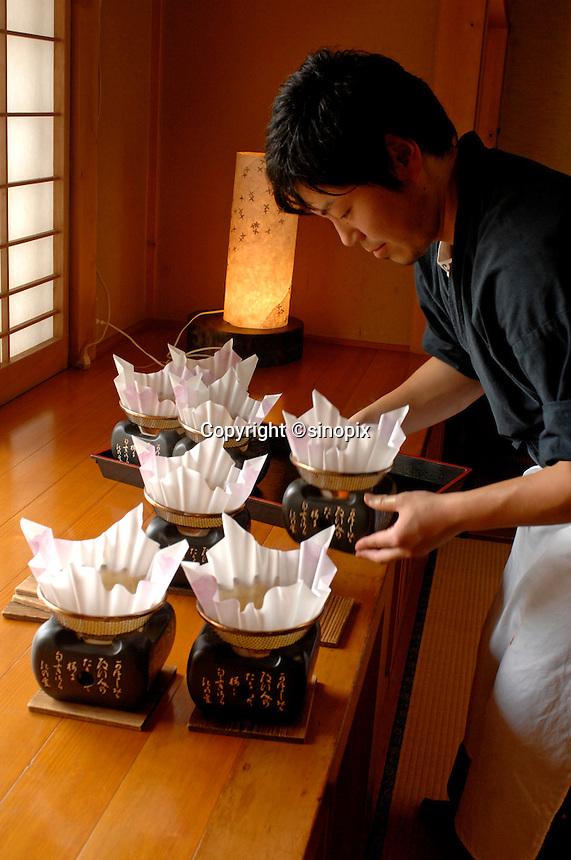 Denis Dubourdieu eats at the Yashina restaurant Yamanashi Prefecture, Japan.