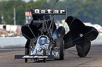 Aug. 18, 2013; Brainerd, MN, USA: NHRA top fuel dragster driver Shawn Langdon during the Lucas Oil Nationals at Brainerd International Raceway. Mandatory Credit: Mark J. Rebilas-
