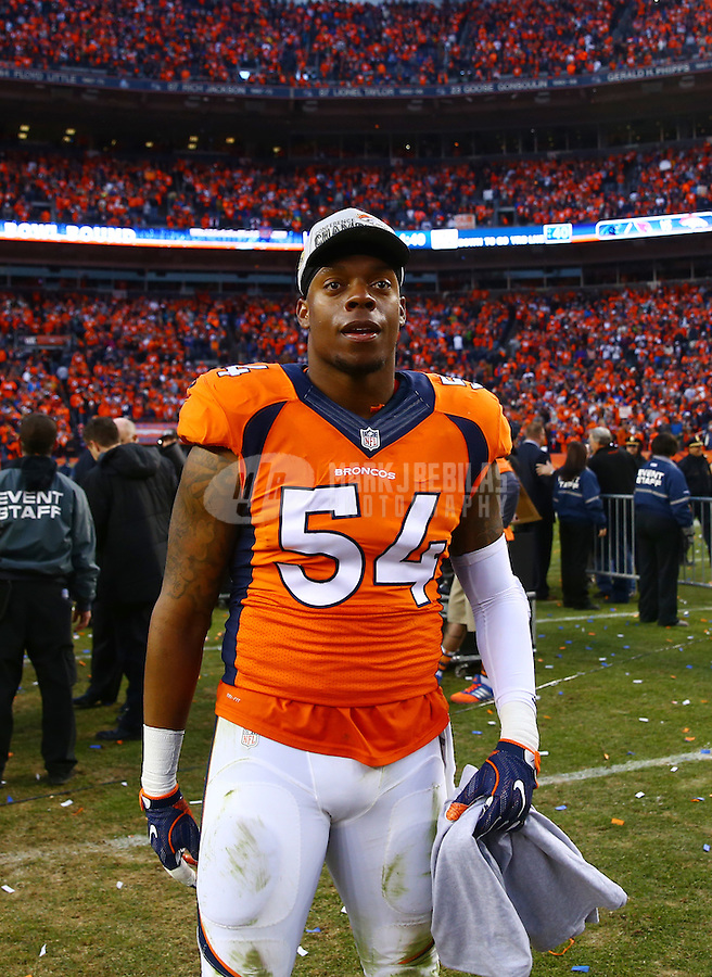 Jan 24, 2016; Denver, CO, USA; Denver Broncos linebacker Brandon Marshall (54) against the New England Patriots in the AFC Championship football game at Sports Authority Field at Mile High. The Broncos defeated the Patriots 20-18 to advance to the Super Bowl. Mandatory Credit: Mark J. Rebilas-USA TODAY Sports