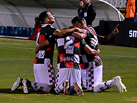 TUNJA-COLOMBIA, 29-01-2020: Jugadores Boyacá Chicó F. C., celebran el gol anotado a Patriotas Boyacá F. C., durante partido Patriotas FC y Patriotas Boyacá F. C., de la fecha 2 por la Liga BetPlay DIMAYOR I 2020 en el estadio La Independencia en la ciudad de Tunja. / Players of Boyacá Chicó F. C., celebrate a scored goal to Patriotas Boyacá F. C., during a match between Boyacá Chicó F. C. and Patriotas Boyacá F. C., of the date 2nd for the BetPlay DIMAYOR Leguaje I 2020 at La Independencia stadium in Tunja city. / Photo: VizzorImage / José Miguel Palencia / Cont.