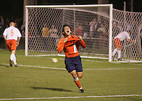 Virginia's Jonathan Villanueva reacts after scoring the game winning goal against Clemson at Klockner Stadium in Charlottesville, Va.