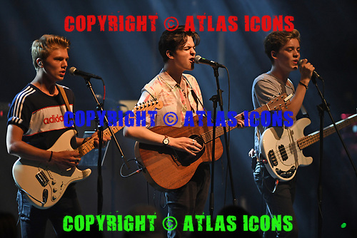 MIAMI BEACH, FL - AUGUST 04: George Smith, Blake Richardson and Reece Bibby of New Hope Club perform at the Fillmore on August 4, 2017 in Miami Beach, Florida. Credit Larry Marano © 2017