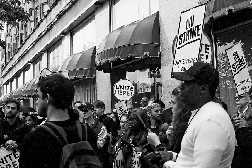 Congress Plaza Hotel workers strike 8th anniversary. The workers were joined by many other union members to show their solidarity with the cause.