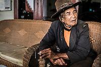 Portrait of a traveling salesman in Berastagi (Brastagi), North Sumatra, Indonesia