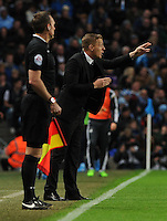 Picture: Andrew Roe/AHPIX LTD, Football, Barclays Premier League, Manchester City v Swansea City, 22/11/14, Etihad Stadium, K.O 3pm<br /> <br /> Swansea's manager Garry Monk gives out instructions<br /> <br /> Andrew Roe>>>>>>>07826527594