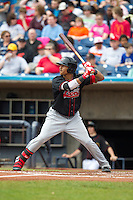 Great Lakes Loons outfielder James Baldwin #37 bats during a game against the Quad Cities River Bandits at Modern Woodmen Park on April 29, 2013 in Davenport, Iowa. (Brace Hemmelgarn/Four Seam Images)