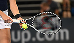 Katie Boulter (Great Britain) raquet. Rubber 4. Great Britain v Kazakhstan. World group II play-off. BNP Parebas Fed Cup. Copper Box arena. Queen Elizabeth Olympic Park. Stratford. LondonUK. 21/04/2019. ~ MANDATORY Credit Garry Bowden/Sportinpictures - NO UNAUTHORISED USE - 07837 394578