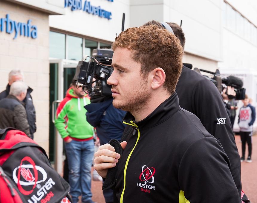 Ulster's Paddy Jackson arrives at the stadium<br /> <br /> Photographer Simon King/CameraSport<br /> <br /> Guinness Pro12 Round 21 - Ospreys v Ulster Rugby - Saturday 29th April 2017 - Liberty Stadium - Swansea<br /> <br /> World Copyright &copy; 2017 CameraSport. All rights reserved. 43 Linden Ave. Countesthorpe. Leicester. England. LE8 5PG - Tel: +44 (0) 116 277 4147 - admin@camerasport.com - www.camerasport.com