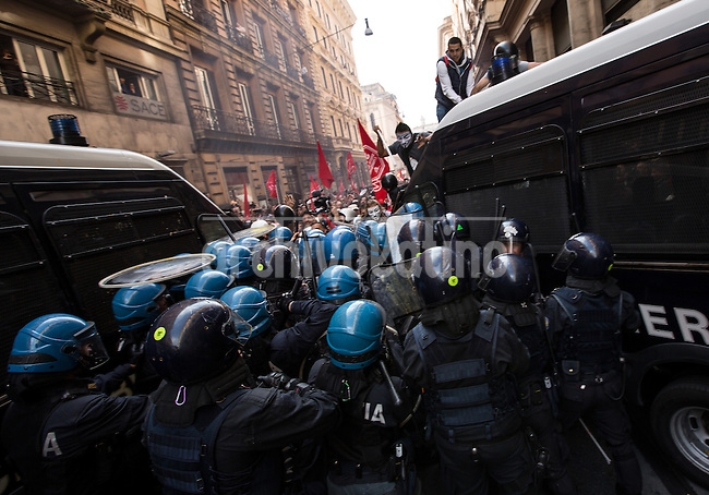 Demonstrators for housing rights clashes in the streets of downtown Rome with police in one of the more severe riots in the city during a protest