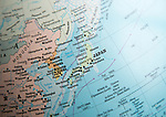 East Asia map on a globe focused on Japan, North Korea, South Korea,