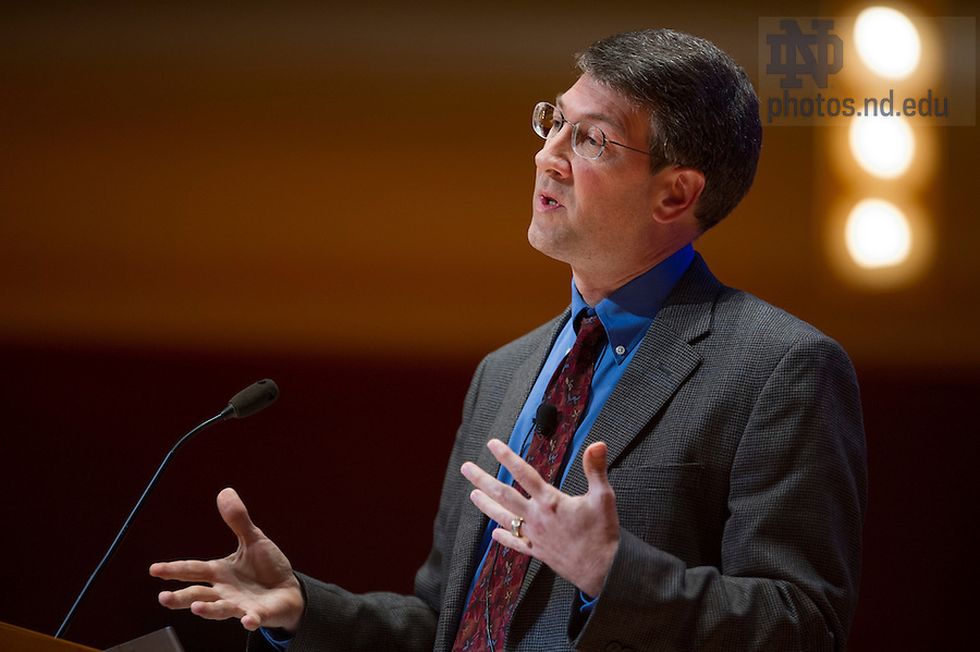 "Sept 15, 2014;  Michael Hildreth, professor of physics, offers commentary on Carl Wieman's remarks during the 2014-15 Notre Dame Forum, ""What do Notre Dame Graduates Need to Know,"" at Leighton Concert Hall in the Debartolo Performing Arts Center. (Photo by Barbara Johnston/University of Notre Dame)"
