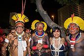 Imperatriz Leopolinense Samba School, Carnival, Rio de Janeiro, Brazil, 26th February 2017. Jakalo Kuikuro, Chief Raoni Metuktire, Ysani Kalapalo and Megaron Txucarrhamãe before the parade in the sambadrome.
