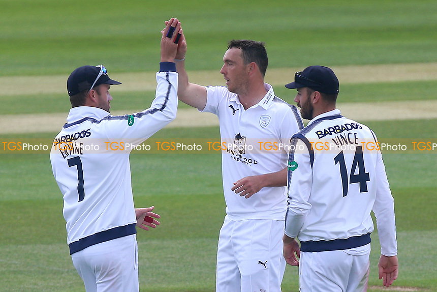 Kyle Abbott of Hampshire celebrates taking the wicket of Alastair Cook during Essex CCC vs Hampshire CCC, Specsavers County Championship Division 1 Cricket at The Cloudfm County Ground on 20th May 2017