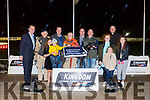 Winner of the Paul Reidy Construction Stakes Final Ballads Forlife, Owner Margaret McCarthy from Tralee at the Kingdom Greyhound Stadium on Friday. Pictured  Declan Dowling,  Michael Reidy, Paul Reidy, Margaret McCarthy, Patrick Moriarty, Tomas Clifford, Nedeen Forest , Leah Bartlett, Molly Forest, Ava Reidy, Danny Reidy, Kieran Casey