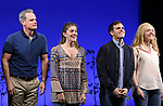 Michael Park, Laura Dreyfuss, Rachel Bay Jones with Taylor Trensch as he takes his bows as the newest Evan in 'Dear Evan Hansen' on Broadway at the Music Box Theatre on February 6, 2018 in New York City.