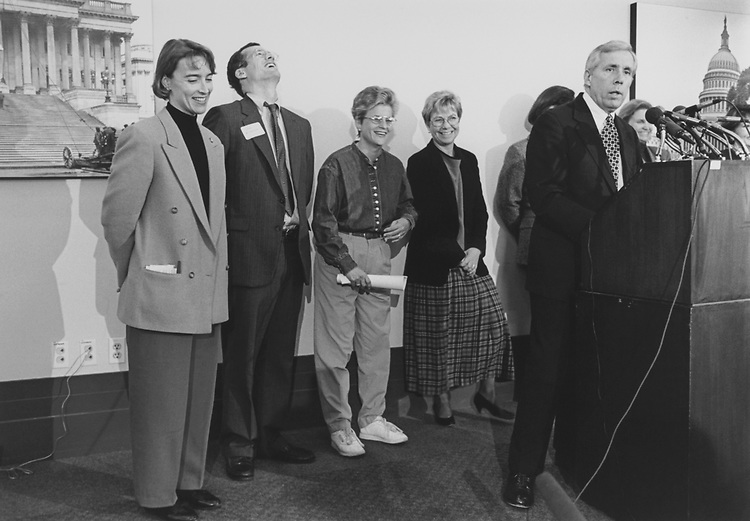 Rep. Blanche Lincoln, D-Ark., Rep. Jack Kingston, R-Ga., Rep, Ileana Ros-Lehtinen, R-Fla., Rep. Deborah Pryce, R-Ohio, and Rep. Frank Wolf, R-Va., at a Family Quality of Life Advisory Committee press conference on Dec. 15, 1994. (Photo by Chris Martin/CQ Roll Call via Getty Images)
